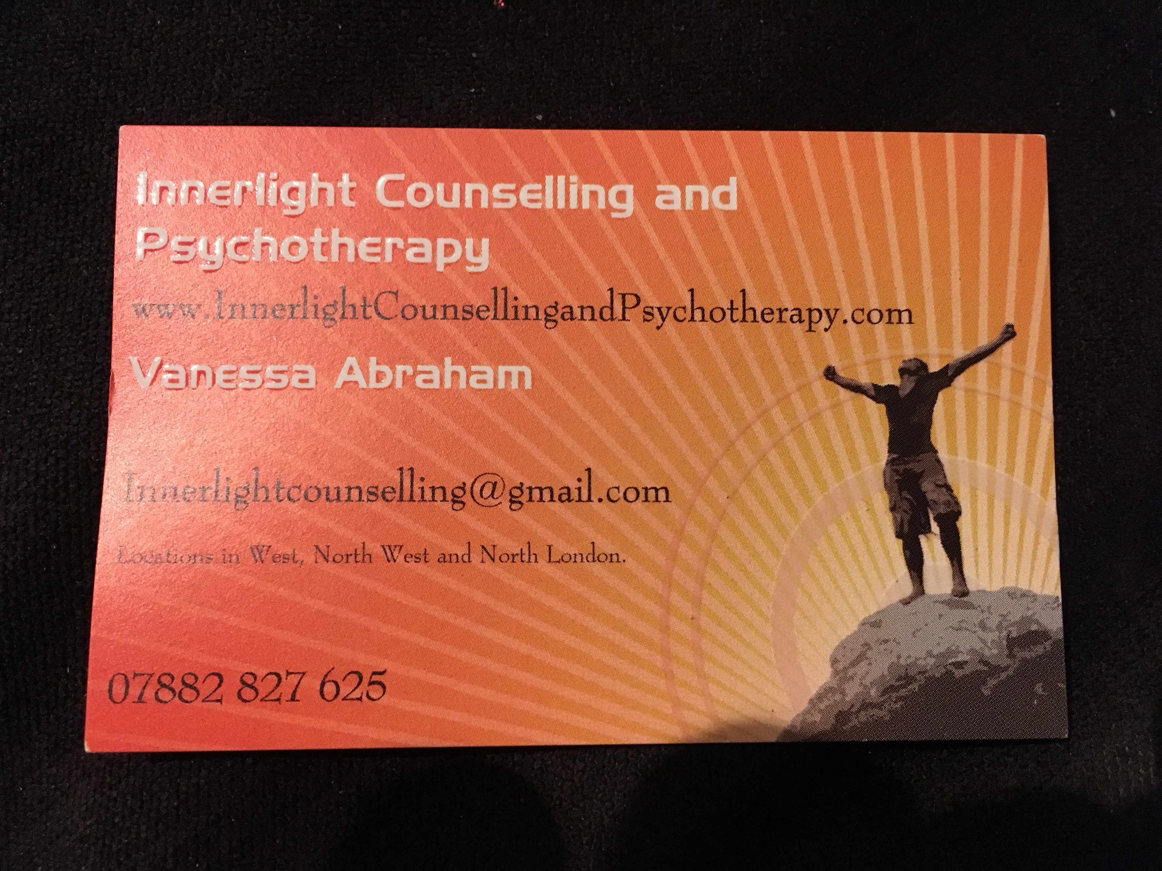 Behind the business card vanessa abraham innerlight vanessa abrahams is a transpersonal psychotherapist who offers a holistic approach to counselling and treatment through creating a balance between mind magicingreecefo Gallery